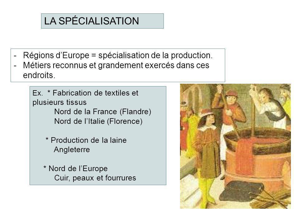 LA SPÉCIALISATION -Régions dEurope = spécialisation de la production. -Métiers reconnus et grandement exercés dans ces endroits. Ex. * Fabrication de