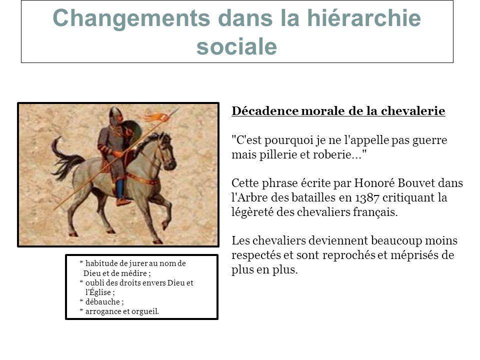 Changements dans la hiérarchie sociale Décadence morale de la chevalerie