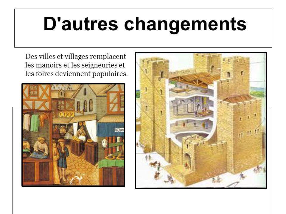 D'autres changements Des villes et villages remplacent les manoirs et les seigneuries et les foires deviennent populaires.