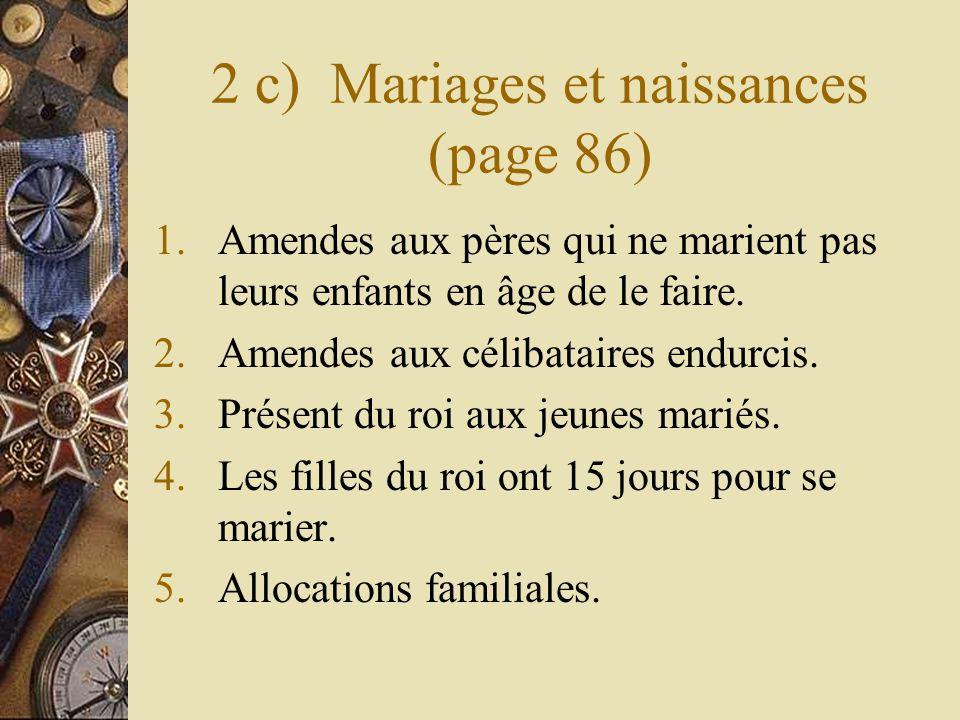 2 c) Mariages et naissances (page 86) 1.Amendes aux pères qui ne marient pas leurs enfants en âge de le faire. 2.Amendes aux célibataires endurcis. 3.