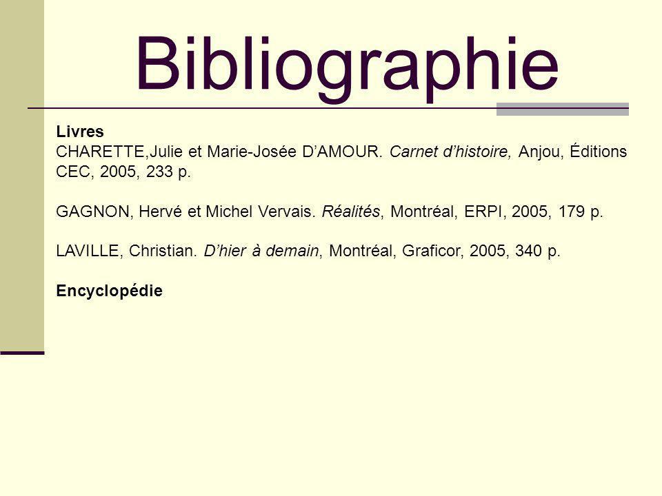 Livres CHARETTE,Julie et Marie-Josée DAMOUR. Carnet dhistoire, Anjou, Éditions CEC, 2005, 233 p. GAGNON, Hervé et Michel Vervais. Réalités, Montréal,
