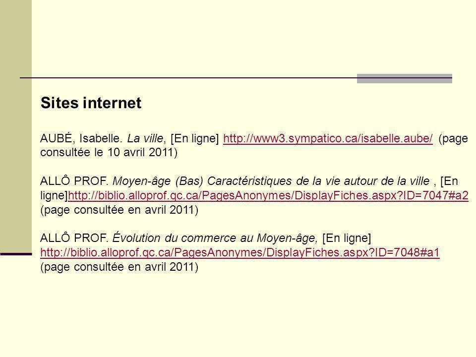 Sites internet AUBÉ, Isabelle. La ville, [En ligne] http://www3.sympatico.ca/isabelle.aube/ (page consultée le 10 avril 2011)http://www3.sympatico.ca/