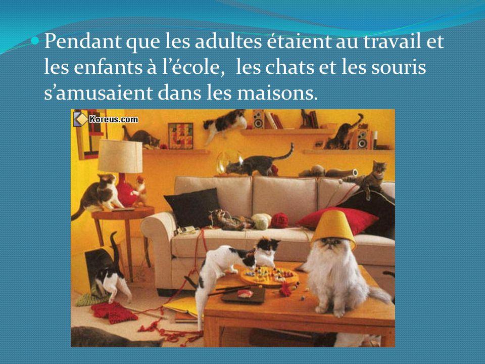 Pendant que les adultes étaient au travail et les enfants à lécole, les chats et les souris samusaient dans les maisons.