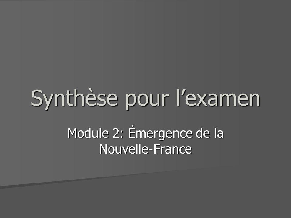 Synthèse pour lexamen Module 2: Émergence de la Nouvelle-France