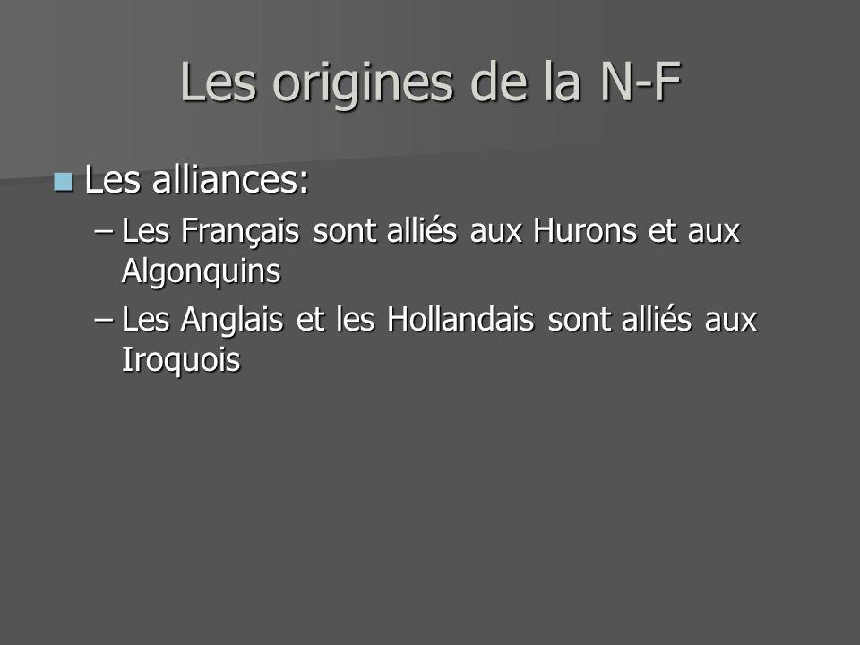Les origines de la N-F Les alliances: Les alliances: –Les Français sont alliés aux Hurons et aux Algonquins –Les Anglais et les Hollandais sont alliés