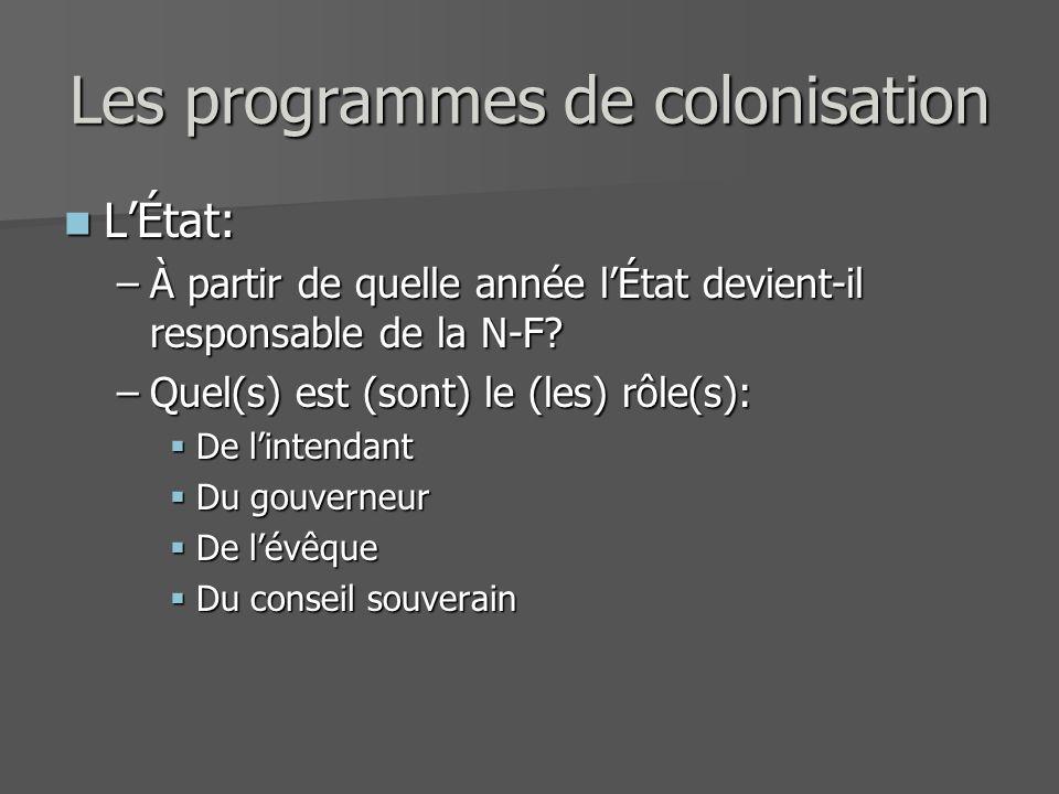 Les programmes de colonisation LÉtat: LÉtat: –À partir de quelle année lÉtat devient-il responsable de la N-F? –Quel(s) est (sont) le (les) rôle(s): D