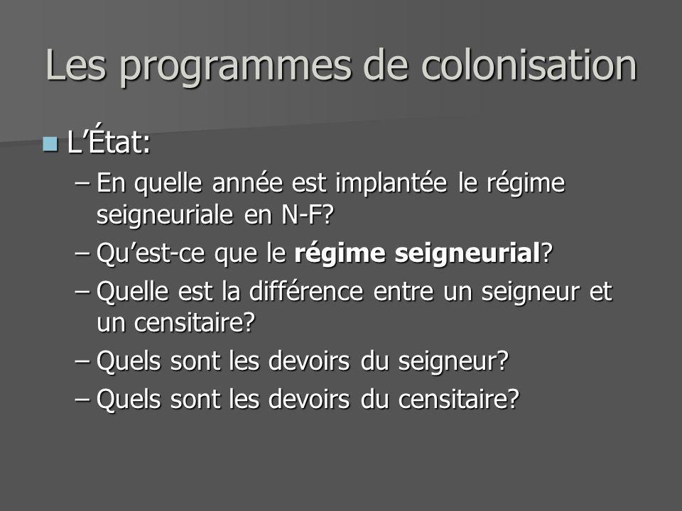 Les programmes de colonisation LÉtat: LÉtat: –En quelle année est implantée le régime seigneuriale en N-F? –Quest-ce que le régime seigneurial? –Quell