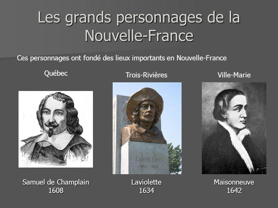 Les grands personnages de la Nouvelle-France Samuel de Champlain 1608Maisonneuve1642Laviolette1634 Ces personnages ont fondé des lieux importants en N