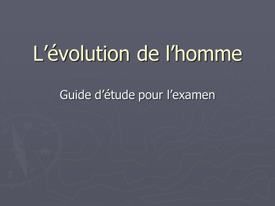 Lévolution de lhomme Guide détude pour lexamen