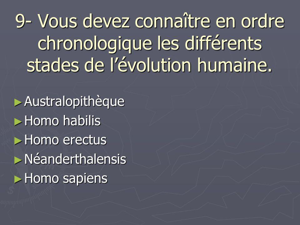 9- Vous devez connaître en ordre chronologique les différents stades de lévolution humaine. Australopithèque Australopithèque Homo habilis Homo habili