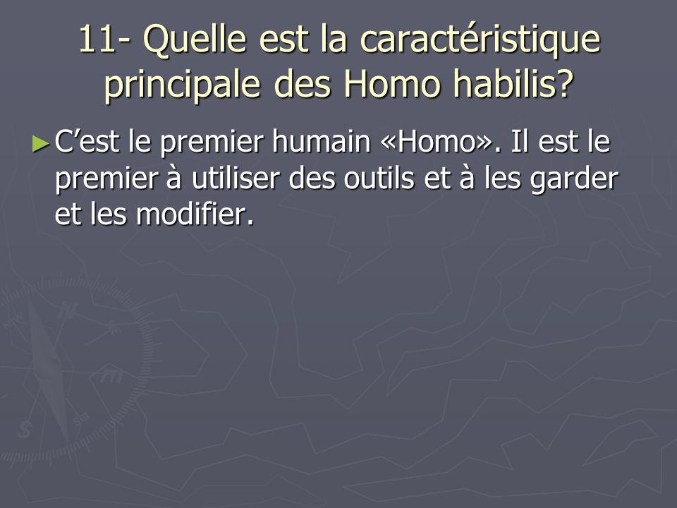 11- Quelle est la caractéristique principale des Homo habilis? Cest le premier humain «Homo». Il est le premier à utiliser des outils et à les garder