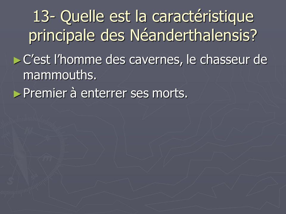 13- Quelle est la caractéristique principale des Néanderthalensis? Cest lhomme des cavernes, le chasseur de mammouths. Cest lhomme des cavernes, le ch