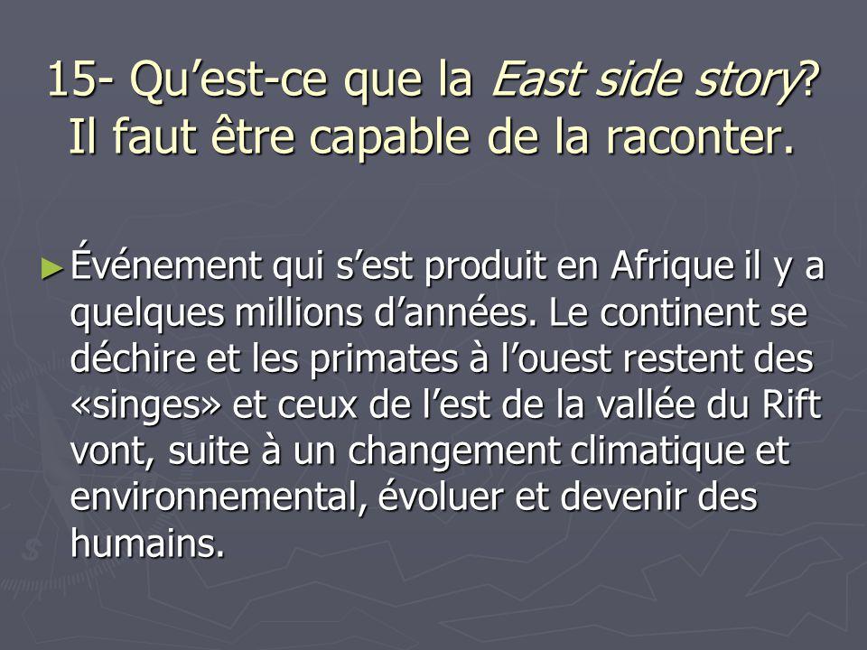 15- Quest-ce que la East side story? Il faut être capable de la raconter. Événement qui sest produit en Afrique il y a quelques millions dannées. Le c