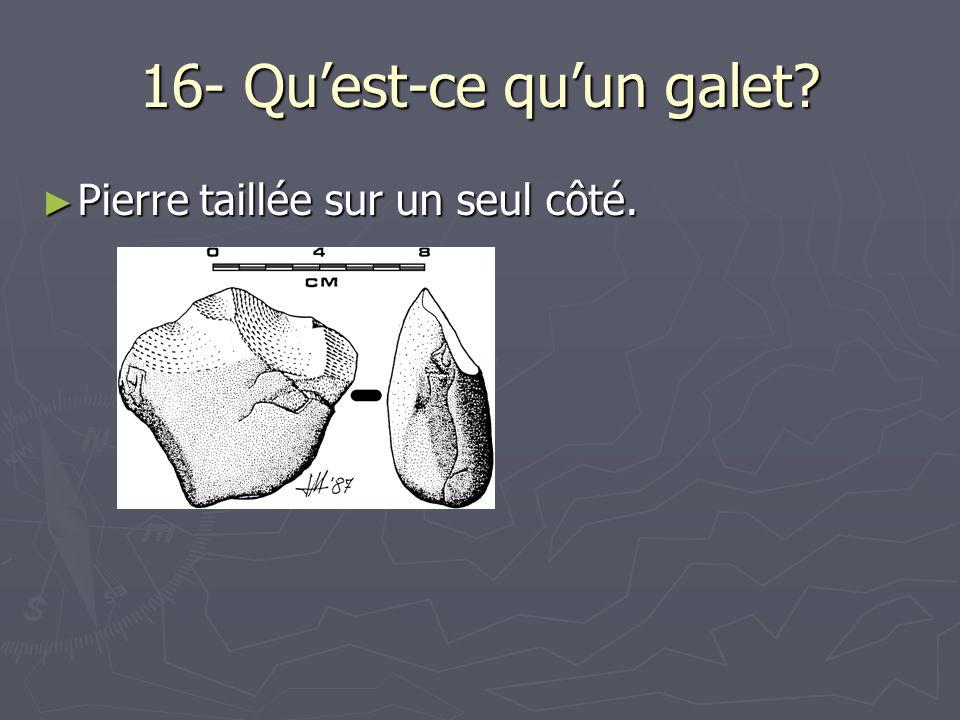 16- Quest-ce quun galet? Pierre taillée sur un seul côté. Pierre taillée sur un seul côté.