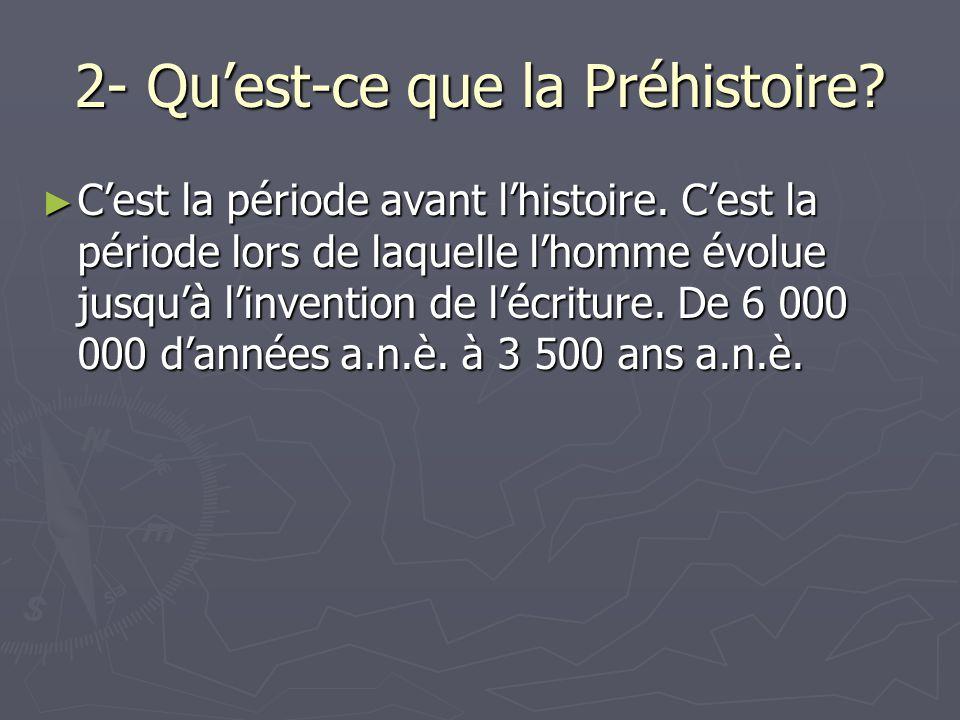 2- Quest-ce que la Préhistoire? Cest la période avant lhistoire. Cest la période lors de laquelle lhomme évolue jusquà linvention de lécriture. De 6 0
