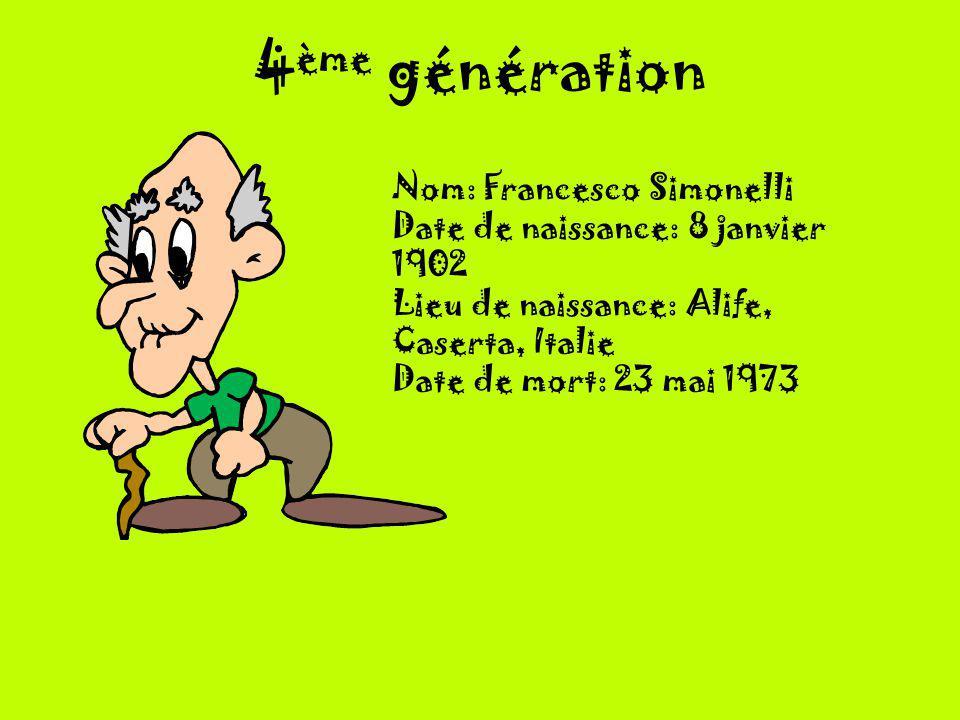 4 ème génération Nom: Francesco Simonelli Date de naissance: 8 janvier 1902 Lieu de naissance: Alife, Caserta, Italie Date de mort: 23 mai 1973