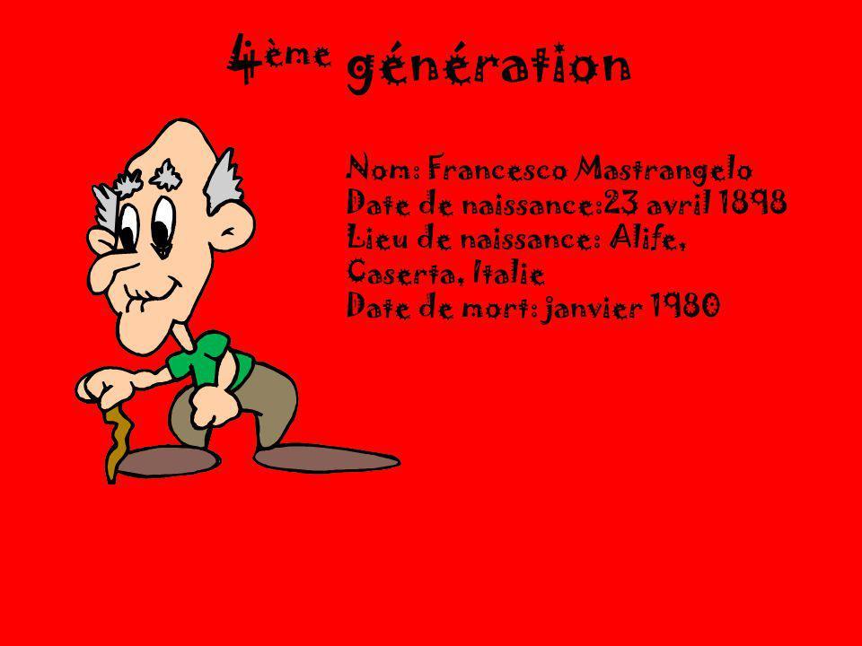 4 ème génération Nom: Francesco Mastrangelo Date de naissance:23 avril 1898 Lieu de naissance: Alife, Caserta, Italie Date de mort: janvier 1980