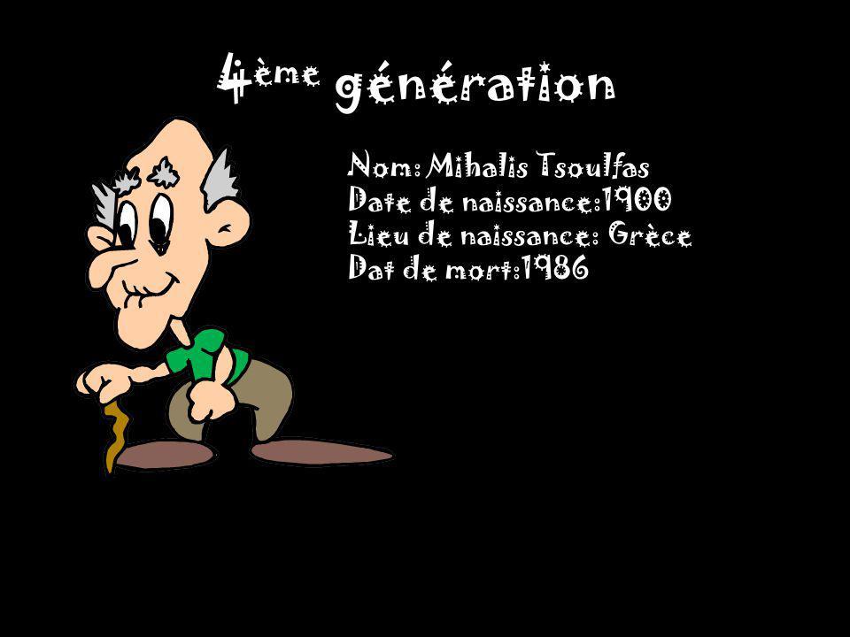4 ème génération Nom: Mihalis Tsoulfas Date de naissance:1900 Lieu de naissance: Grèce Dat de mort:1986