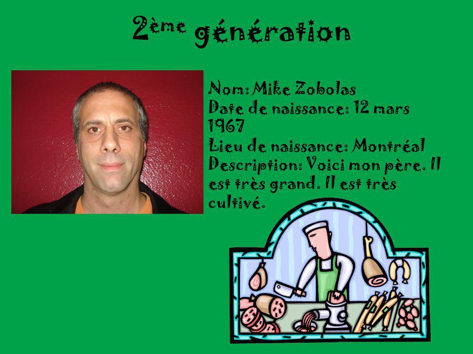 2 ème génération Nom: Mike Zobolas Date de naissance: 12 mars 1967 Lieu de naissance: Montréal Description: Voici mon père.