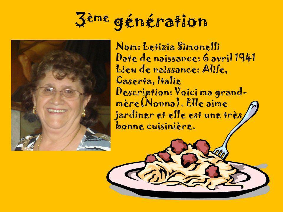 3 ème génération Nom: Letizia Simonelli Date de naissance: 6 avril 1941 Lieu de naissance: Alife, Caserta, Italie Description: Voici ma grand- mère(Nonna).