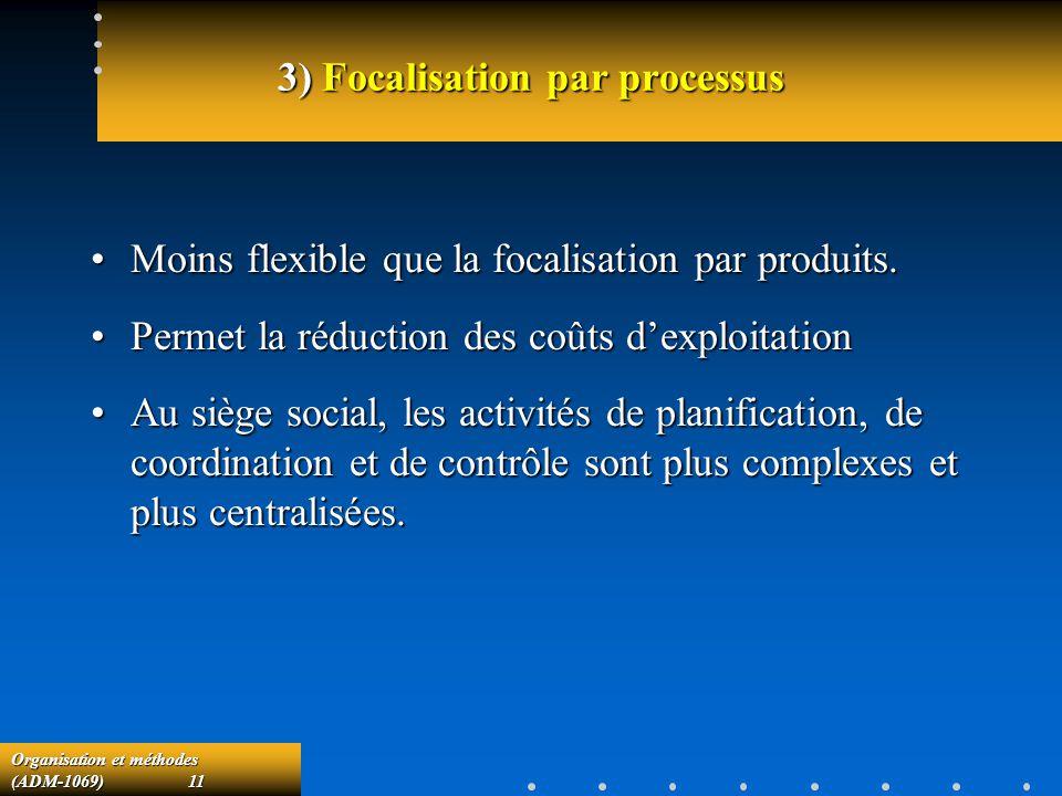 Organisation et méthodes (ADM-1069) 11 3) Focalisation par processus Moins flexible que la focalisation par produits.Moins flexible que la focalisatio