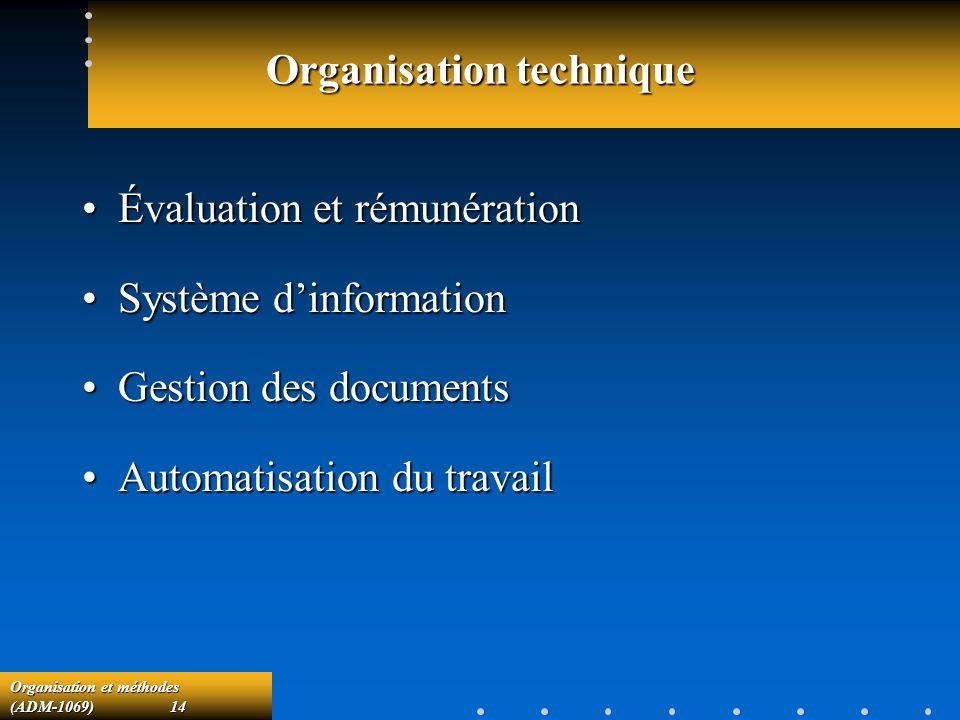 Organisation et méthodes (ADM-1069) 14 Organisation technique Évaluation et rémunérationÉvaluation et rémunération Système dinformationSystème dinform