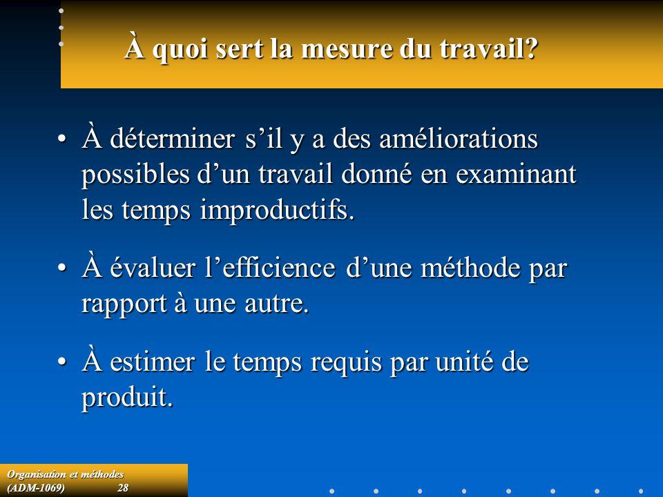 Organisation et méthodes (ADM-1069) 28 À quoi sert la mesure du travail? À déterminer sil y a des améliorations possibles dun travail donné en examina