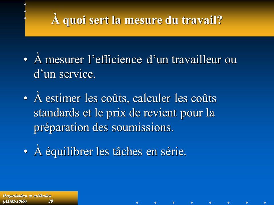 Organisation et méthodes (ADM-1069) 29 À quoi sert la mesure du travail? À mesurer lefficience dun travailleur ou dun service.À mesurer lefficience du