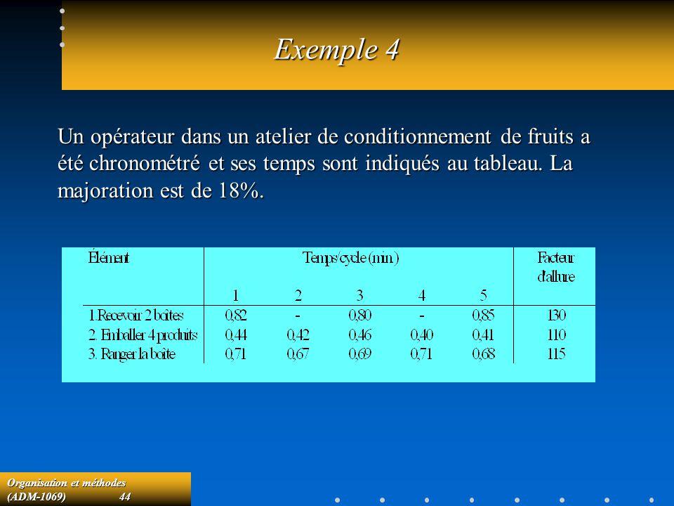 Organisation et méthodes (ADM-1069) 44 Exemple 4 Un opérateur dans un atelier de conditionnement de fruits a été chronométré et ses temps sont indiqué