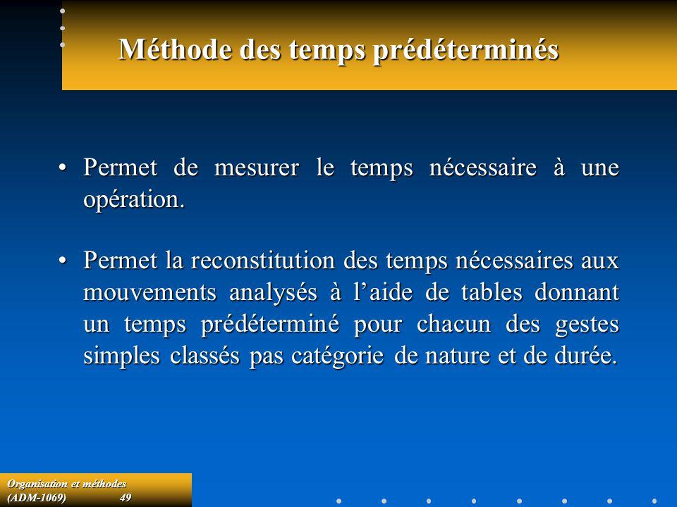 Organisation et méthodes (ADM-1069) 49 Méthode des temps prédéterminés Permet de mesurer le temps nécessaire à une opération.Permet de mesurer le temp