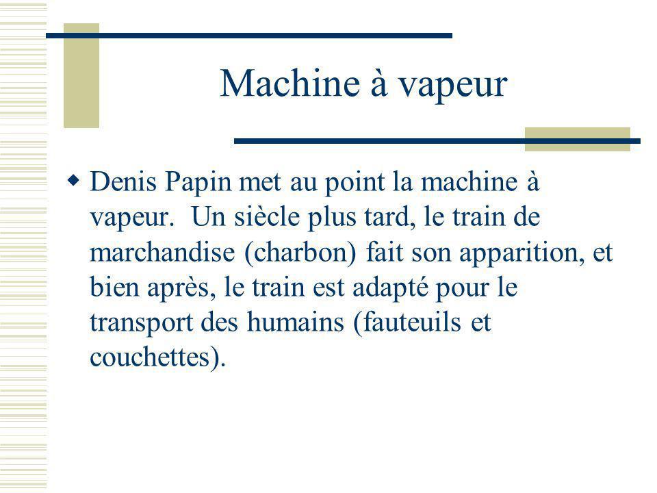 Machine à vapeur Denis Papin met au point la machine à vapeur.