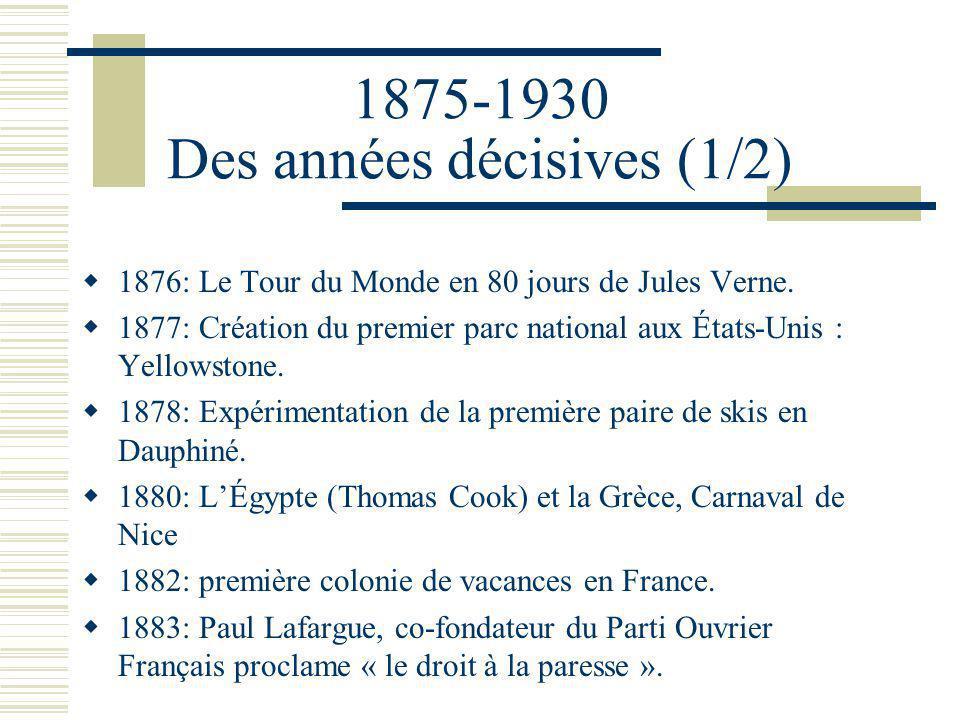 1875-1930 Des années décisives (1/2) 1876: Le Tour du Monde en 80 jours de Jules Verne.