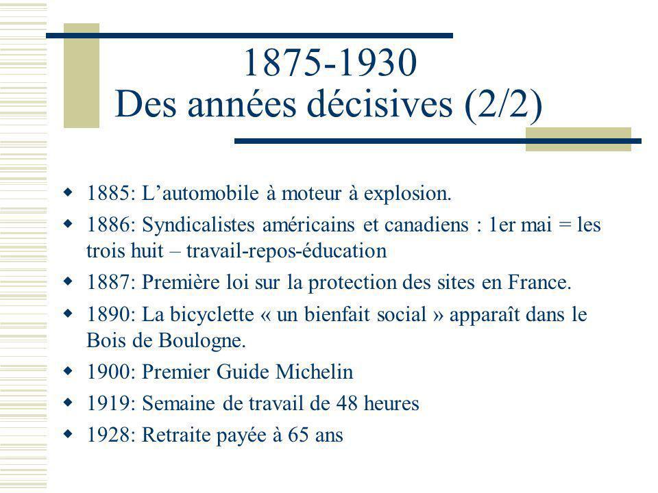 1875-1930 Des années décisives (2/2) 1885: Lautomobile à moteur à explosion.