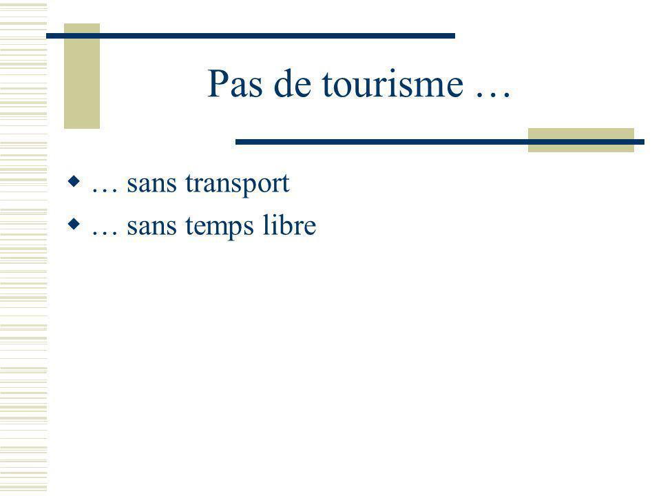 Pas de tourisme … … sans transport … sans temps libre