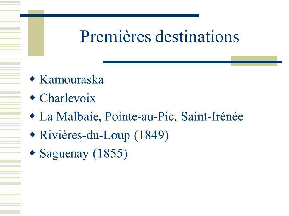 Premières destinations Kamouraska Charlevoix La Malbaie, Pointe-au-Pic, Saint-Irénée Rivières-du-Loup (1849) Saguenay (1855)