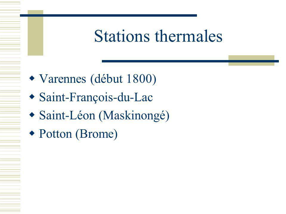 Stations thermales Varennes (début 1800) Saint-François-du-Lac Saint-Léon (Maskinongé) Potton (Brome)