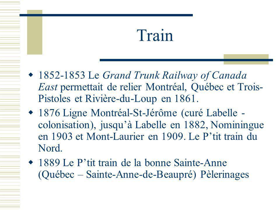Train 1852-1853 Le Grand Trunk Railway of Canada East permettait de relier Montréal, Québec et Trois- Pistoles et Rivière-du-Loup en 1861.