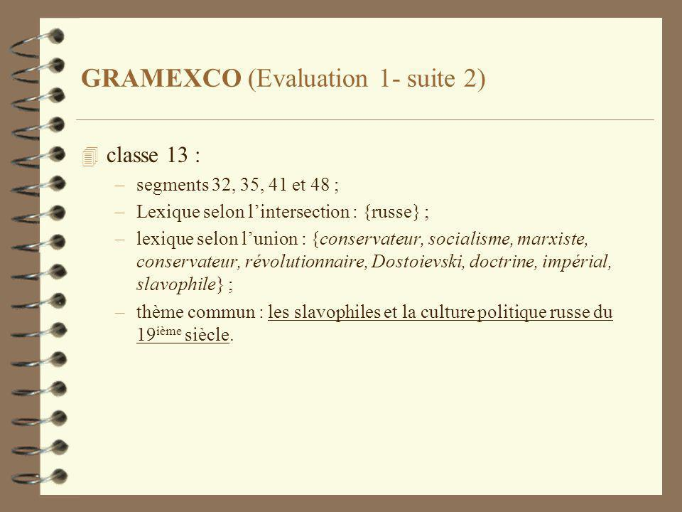 GRAMEXCO (Evaluation 1- suite 2) 4 classe 13 : –segments 32, 35, 41 et 48 ; –Lexique selon lintersection : {russe} ; –lexique selon lunion : {conserva