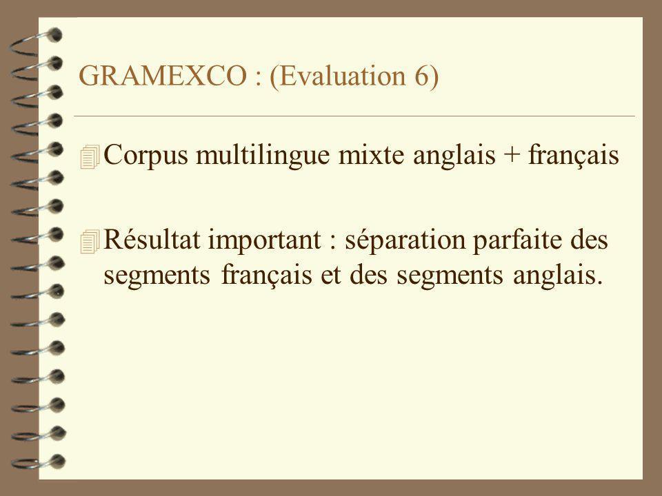 GRAMEXCO : (Evaluation 6) 4 Corpus multilingue mixte anglais + français 4 Résultat important : séparation parfaite des segments français et des segments anglais.