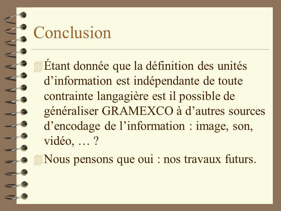 Conclusion 4 Étant donnée que la définition des unités dinformation est indépendante de toute contrainte langagière est il possible de généraliser GRAMEXCO à dautres sources dencodage de linformation : image, son, vidéo, … .