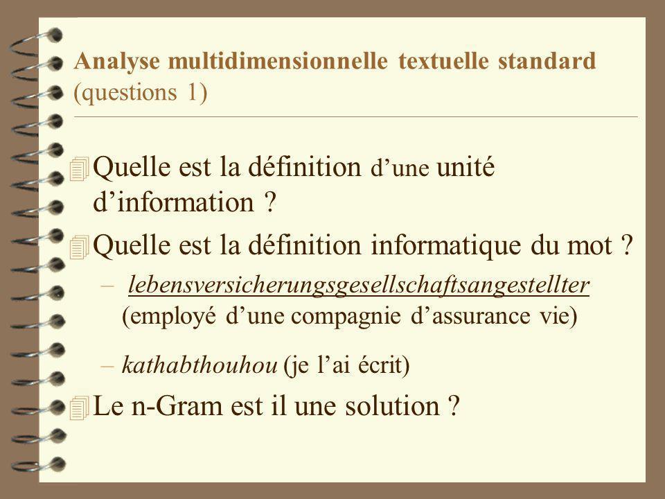 Analyse multidimensionnelle textuelle standard (questions 1) 4 Quelle est la définition dune unité dinformation .