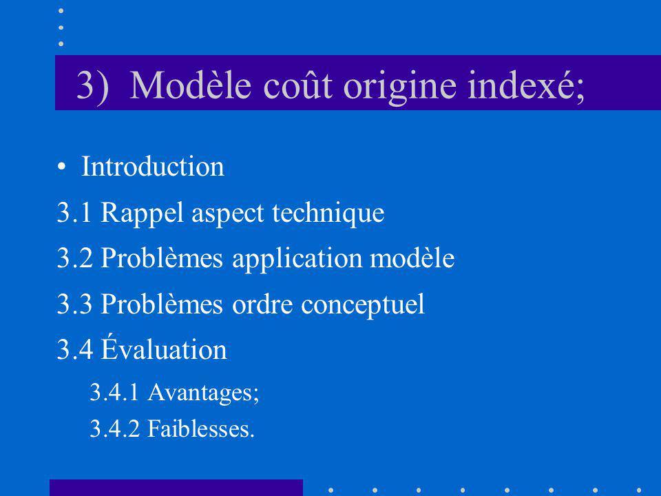 3) Modèle coût origine indexé; Introduction 3.1 Rappel aspect technique 3.2 Problèmes application modèle 3.3 Problèmes ordre conceptuel 3.4 Évaluation