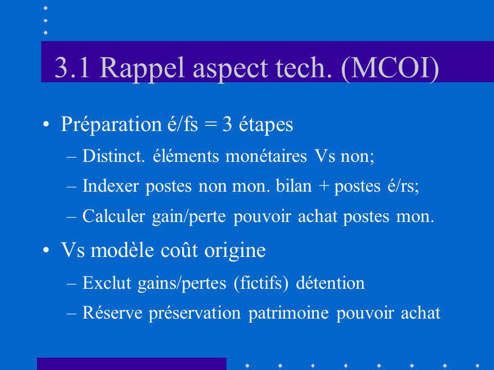 3.1 Rappel aspect tech. (MCOI) Préparation é/fs = 3 étapes –Distinct. éléments monétaires Vs non; –Indexer postes non mon. bilan + postes é/rs; –Calcu