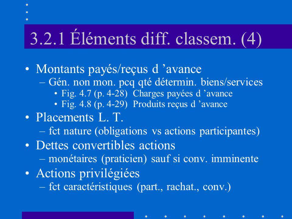 3.2.1 Éléments diff. classem. (4) Montants payés/reçus d avance –Gén.