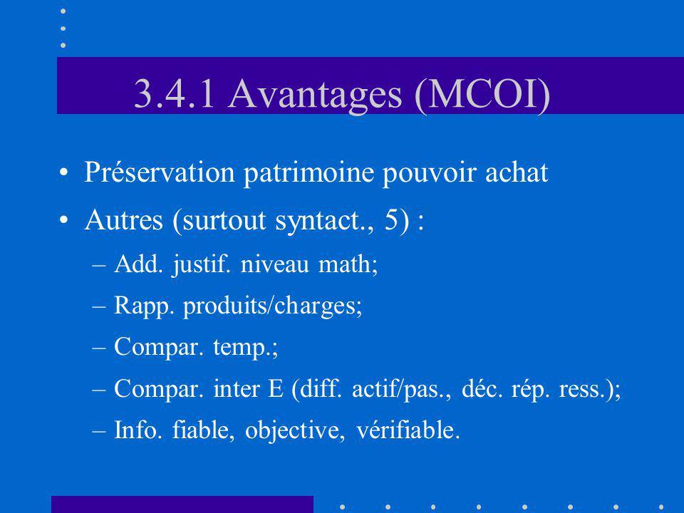 3.4.1 Avantages (MCOI) Préservation patrimoine pouvoir achat Autres (surtout syntact., 5) : –Add. justif. niveau math; –Rapp. produits/charges; –Compa