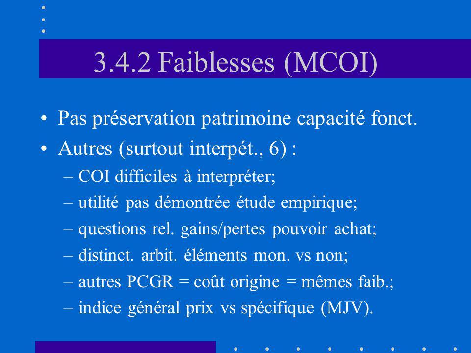 3.4.2 Faiblesses (MCOI) Pas préservation patrimoine capacité fonct. Autres (surtout interpét., 6) : –COI difficiles à interpréter; –utilité pas démont