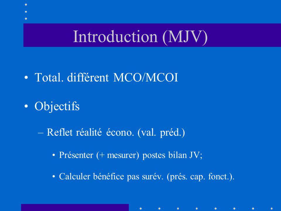 Introduction (MJV) Total. différent MCO/MCOI Objectifs –Reflet réalité écono. (val. préd.) Présenter (+ mesurer) postes bilan JV; Calculer bénéfice pa