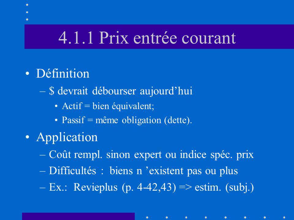 4.1.1 Prix entrée courant Définition –$ devrait débourser aujourdhui Actif = bien équivalent; Passif = même obligation (dette). Application –Coût remp