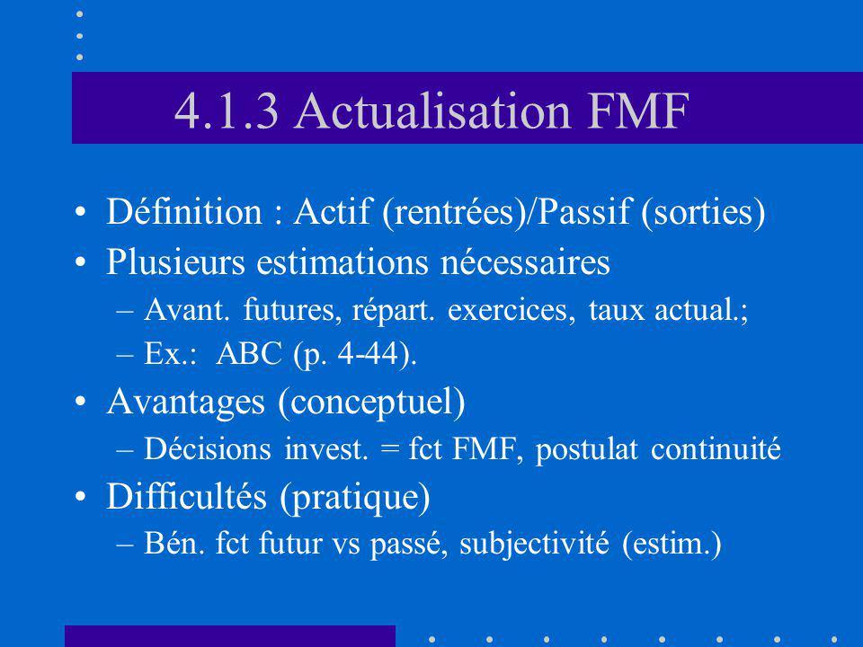 4.1.3 Actualisation FMF Définition : Actif (rentrées)/Passif (sorties) Plusieurs estimations nécessaires –Avant. futures, répart. exercices, taux actu