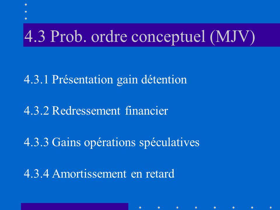 4.3 Prob. ordre conceptuel (MJV) 4.3.1 Présentation gain détention 4.3.2 Redressement financier 4.3.3 Gains opérations spéculatives 4.3.4 Amortissemen